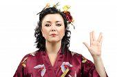 Kimono Woman Showing Vulcan Salute