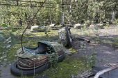 Playground in Pripyat - abandoned city near Chernobyl nuclear reactor. Whole city was abandoned afte