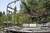 Children playgrounds in Pripyat - abandoned city near Chernobyl nuclear reactor. Whole city was aban