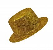 Vintage Golden Lady's Hat  On White Background Isolated