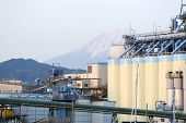 Vegetable Oil Silo In Japan With Mt. Fuji In Background