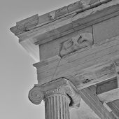 ionian order column detail in black and white