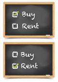 detailed illustration of different checkboxes with buy or rent options on a blackboard, eps10 vector