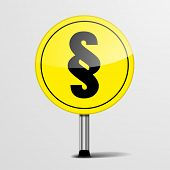 detailed illustration of a yellow road sign with paragraph sign, eps10 vector