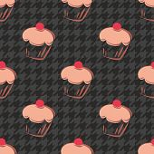 stock photo of black-cherry  - Tile vector background with cherry cupcake and dark grey and black houndstooth pattern - JPG