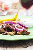 foto of gyro  - greek gyros on a plate with red wine - JPG