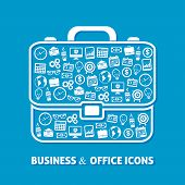 picture of money prize  - Briefcase of office business concepts of clock coffee  money globe icons vector illustration - JPG