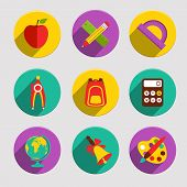 foto of protractor  - Flat school education icons set of apple stationery angle protractor isolated vector illustration - JPG