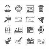 pic of logistics  - Post service icon black set with logistics shipping and packaging elements isolated vector illustration - JPG