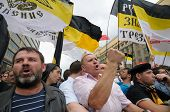 Russian nationalists shout slogans