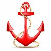 Red anchor with rope isolated on white background. Vector illustration