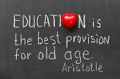 stock photo of philosophical  - famous ancient Greek philosopher Aristotle quote about education handwritten on blackboard - JPG