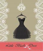 Little Black Dress With Chandelier,ribbon, Paisley Border