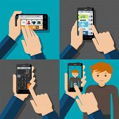 Hands holding touchscreen smartphones with applications on screens. E-commerce, booking, calculator, camera. Vector illustration.