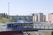 UMEA, SWEDEN ON MAY 21. Morning traffic crosses a bridge on May 21, 2014 in Umea, Sweden.