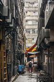 HONG KONG, CHINA - MAY 13 : City scenery of narrow lane in Hong Kong, China on 13th May 2014. The la