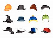 vector set of colored hats on a white background