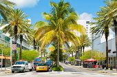 MIAMI,USA - MAY 20,2014 : Traffic and shops among tropical palm trees at Lincoln Road, a famous tourist landmark at Miami Beach