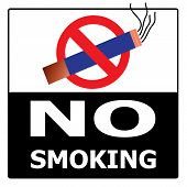 No Smoking Cigarette Area Sign For Public Health Vector On Black & White Background