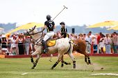 JERSEY CITY, NJ-MAY 31: Hilario Figueras (R) and Nacho Figueras in action during the polo match at t