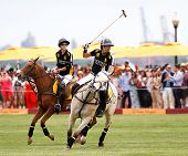 JERSEY CITY, NJ-MAY 31: Hilario Figueras (L) and Nacho Figueras in action during the polo match at t