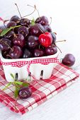 fresh red cherries on a white bowl