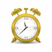 Golden Alarm Clock Vector Illustration. Alarm clock with roman numbers icon.
