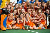 THE HAGUE, NETHERLANDS - JUNE 14: the Dutch women field hockey team poses for a team photo after win
