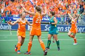 THE HAGUE, NETHERLANDS - JUNE 2: Dutch field hockey player De Waard congratulates Kim Lammers on sco