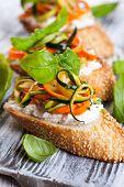 Zucchini,carrot and goat's cheese bruschetta