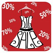Silhouette Of Dress  From Words Big Sale,numbers,percent Sign