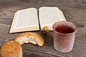 foto of chalice  - still life with bible and chalice of wine