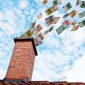 Euro Money Flying Down The Chimney