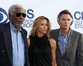 LOS ANGELES - MAY 19:  Morgan Freeman, Tea Leoni, Tim Daly at the CBS Summer Soiree at the London Hotel on May 19, 2014 in West Hollywood, CA