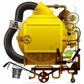 Complex fantastic machine with yellow round boiler, crimped pipe, chemical flask, sign, bucket, lens