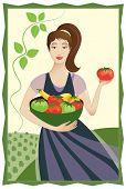 Happy Vegetable Garden Lady