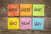 where, when, who, what, why, how questions - uncertainty, brainstorming or decision making concept,