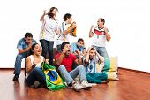 World Cup: Group of friends celebrating football / soccer match