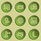 Finance web icon set 2, green paper stickers set