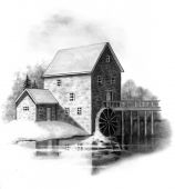 image of water-mill  - A pencil drawing depicting an old stone grist mill - JPG