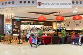 HONG KONG - APRIL 01: Costa Coffee cafe in airport on April 01, 2014 in Hong Kong, China. Costa Coff