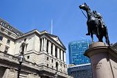 stock photo of duke  - The Duke of Wellington statue situated outside the Bank of England in London - JPG