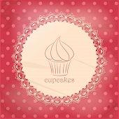 Vintage Cupcake Background On Pink