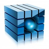 Illustration blue cube, sphere on a white background.