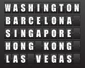 Flight destination, information display board named world cities Washington, Barcelona, ??Singapore,