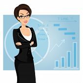 Business woman is wearing black suit on blue background