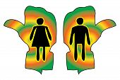 Woman And Man Figure On Toilet Guided Handy Sign