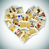 a collage of different pictures of summer scenes and items shot by myself forming a heart, with a retro effect