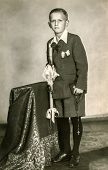CHORZOW, POLAND, CIRCA 1930:  Vintage photo of little boy at his First  Communion