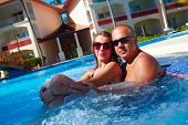 Loving Couple In Jacuzzi.
